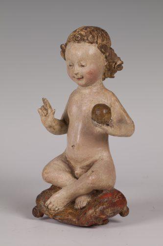 Zittend Christuskind,  Mechelen, begin 16e eeuw, Museum Catharijneconvent, Utrecht.