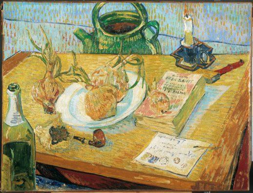 Vincent van Gogh, Stilleven rond een bord met uien, begin januari 1889, olieverf op doek, januari 1889, Kröller-Müller Museum, Otterlo.