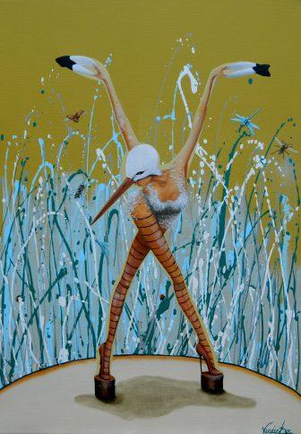Cynthia VandenBor, Bugs, 2015, acryl op doek.