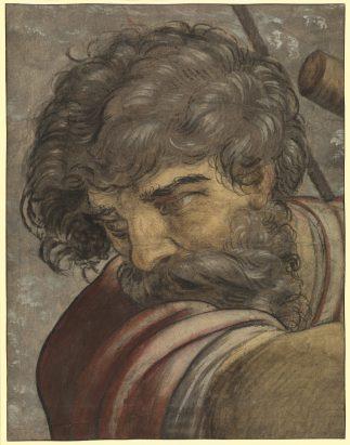 Pieter Coecke van Aelst, Hoofd van een man (kartonfragment), privécollectie.