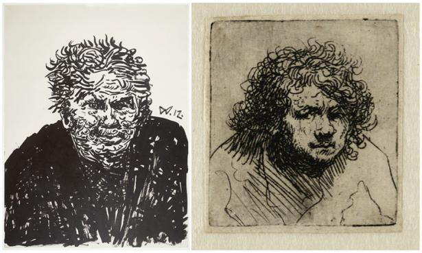 Links: Wilhelm Morgner, Zelfportret nr. 39, 1912, inkt op papier, collectie Museum Wilhelm Morgner, Soest (D), Foto: Thomas Drebusch. Rechts: zelfportret Rembrandt, collectie Teylers Museum (niet in de tentoonstelling).