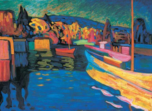 Wassily Kandinsky, Herfstlandschap met boten, 1908, olieverf op karton, Merzbacher Kunststiftung.