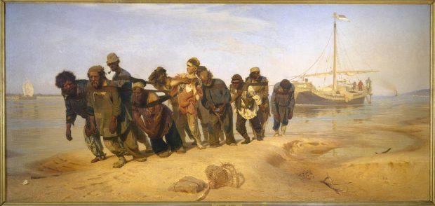 Ilya Repin (1844-1930), De Wolgaslepers, 1870-1873, olieverf op doek, collectie Staats Russisch Museum, Sint Petersburg.