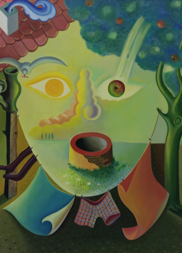 Milan Kunc, What a coincidence!, 1985, olieverf op doek, Groninger Museum.