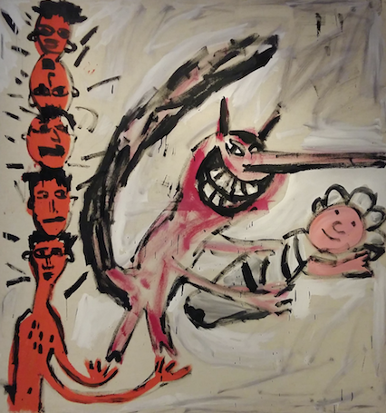 Walter Dahn, De geboorte van de Mülheimer Freiheit, latex op linnen, Paul Maenz, Berlijn.