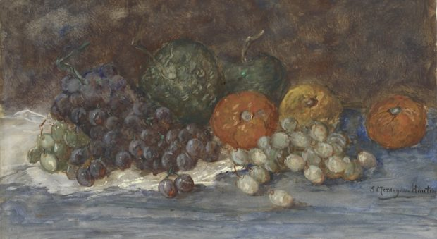 Sientje Mesdag-van Houten, Druiven, een kalebas en andere vruchten, waterverf op papier,  De Mesdag Collectie, Den Haag.