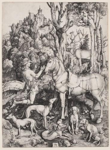 Albrecht Dürer, Heiliger Eustachius, 1501, kopergravure, Kunsthalle Bremen – Der Kunstverein in Bremen. Foto: Karen Blindow.