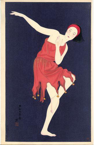 Kobayawaka Kiyoshi (1899-1948), Westers dansen, kleurenhoutsnede op papier, 1934, collectie Elise Wessels – Nihon no hanga.
