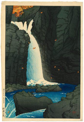 Kawase Hasui (1883-1957), De Yūhi waterval, Shiobara, 1920, collectie Elise Wessels – Nihon no hanga.