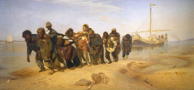 Ilya Repin (1844-1930), Wolgaslepers, 1870-1873, olieverf op doek, collectie Staats Russisch Museum, Sint Petersburg.