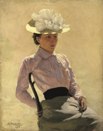 Nikolay Yaroshenko (1846-1898), Portret van een onbekende vrouw, 1893, olieverf op paneel, 40 x 32 cm, collectie Staats Russisch Museum, Sint Petersburg.