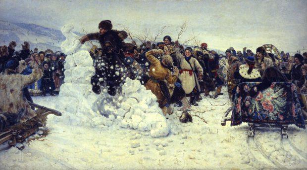 Vasily Surikov (1848-1916), Bestorming van een sneeuwstadje, 1891, olieverf op doek, collectie Staats Russisch Museum, Sint Petersburg.