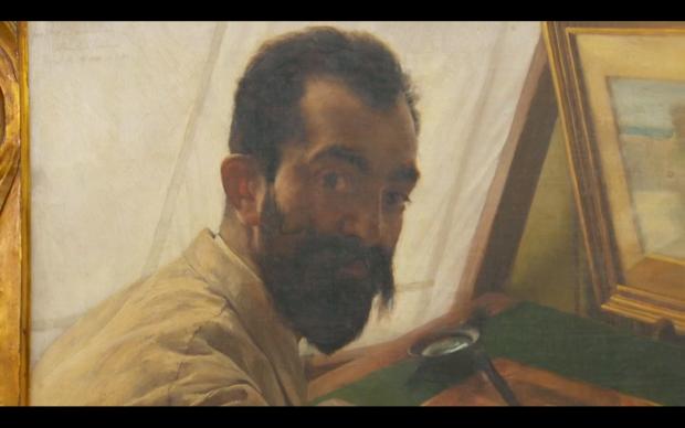 Detail uit het schilderij van Alma-Tadema. Screenshot uit Antiques Roadshow, BBC.