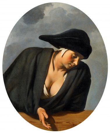 Caesar van Everdingen, Jonge vrouw met donkere muts leunend over een houten borstwering, ca. 1650-1660, olieverf op doek, 91 x 74,6 cm., particuliere collectie. Foto: courtesy Kunsthaus Lempertz, Cologne / Saša Fuis.