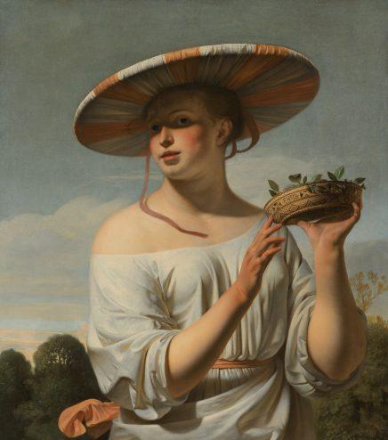Caesar van Everdingen, Meisje met een brede hoed, ca. 1650-1660, olieverf op doek, 92,2 x 81,7 cm., collectie Rijksmuseum, Amsterdam.