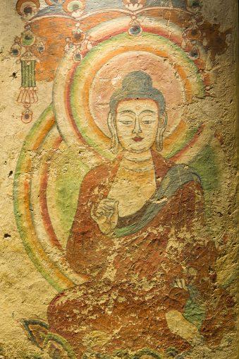 Detail van muurschildering uit grottencomplex Bezeklik, Noordwest-China, 9de-10de eeuw.
