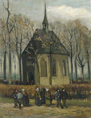 Vincent van Gogh, Het uitgaan van de Hervormde Kerk te Nuenen, 1884 - 1885, Van Gogh Museum, Amsterdam.