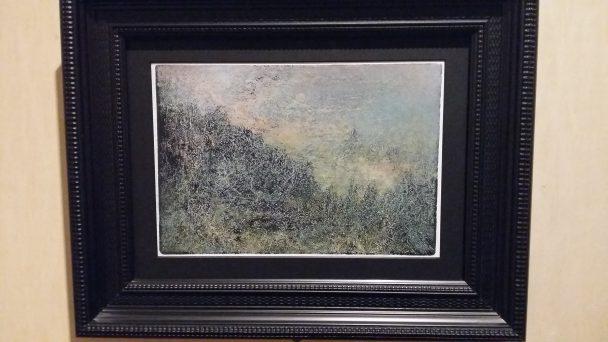 Jan de Haan, Landschap in Noorwegen, 2015, penseel met olieverf, ets gedrukt in blauwzwarte inkt op Belgisch katoen, collectie kunstenaar. Foto: Evert-Jan Pol.