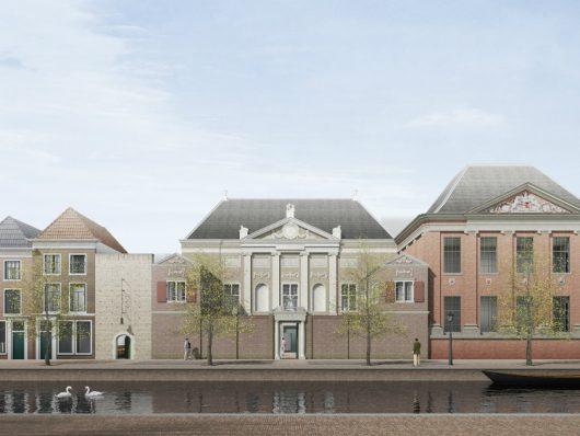 Impressie voorgevel, met rechts de Papevleugel en links het nieuwe museumcafé.