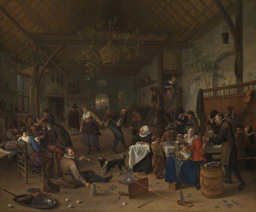 Jan Steen (1626-1679), Vrolijk gezelschap in een herberg, ca. 1670, olieverf op doek, 62 x 75 cm, aangekocht door George IV, 1814.