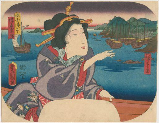 Utagawa Kunisada in een cartouche van Utagawa Hiroshige, Muronotsu in de provincie Harima, 1858.