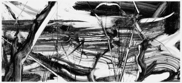 Robert Zandvliet, zonder titel, (monotype in de Varick Series, groot formaat horizontaal IV), 25-10-1999, monotype, inkt op papier, 97,8 x 200,7 cm, Amsterdam, Galerie Onrust.