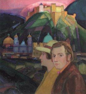 Johan van Hell, Zelfportret met Pau, 1923.