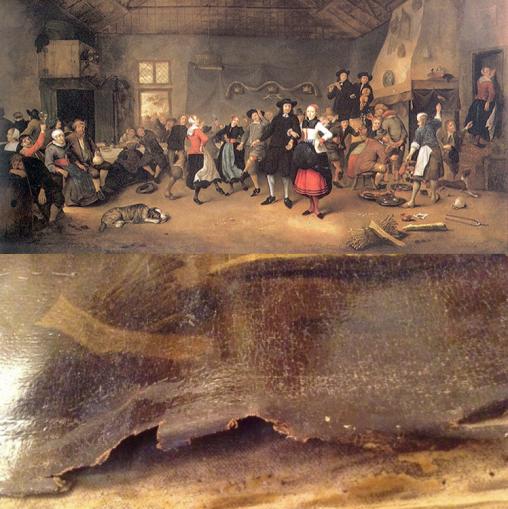 Hendrik Bogaerts Boerenbruiloft voor en na de roof. foto's: Westfries Museum.