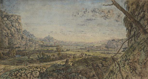 Hercules Segers, Bergvallei met omheinde velden, ca. 1625-1630, lijnets en drogenaald in zwart op papier, penseel in verschillende kleuren, Kupferstichkabinett Staatliche Kunstsammlungen Dresden.
