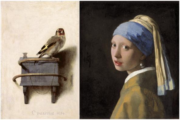 Links: Carel Fabritius, Het puttertje, 1654, Mauritshuis, Den Haag. Rechts: Johannes Vermeer, Meisje met de parel, ca. 1665, Mauritshuis, Den Haag.