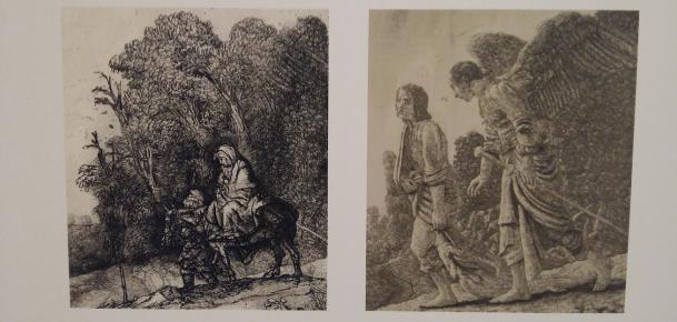 Links: detail uit De vlucht naar Egypte van Rembrandt. Rechts: detail uit Tobias en de engel van Hercules Segers. Foto: Evert-Jan Pol.