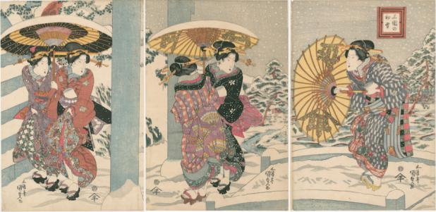 Utagawa Kunisada, Eerste sneeuw in Mimeguri, 1820.