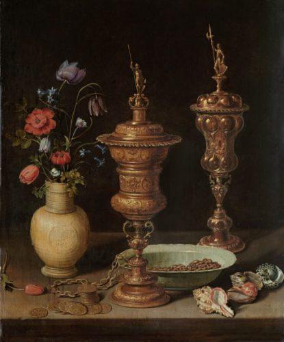 Clara Peeters, Stilleven met bloemen, vergulde bekers, munten en schelpen, 1612, Karlsruhe, Staatliche Kunsthalle.