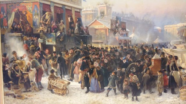 Konstatin Makovsky, Volksfeest tijdens de Carnavalsweek op het Admiraliteitsplein in St. Petersburg, 1869, Staats Russisch Museum, Sint-Petersburg.