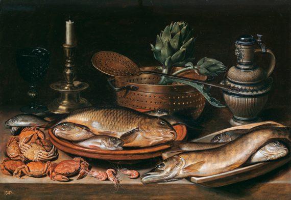 Clara Peeters, Stilleven met vis, kaarsen, artisjokken, krabben en garnalen, 1611, Madrid, Museo Nacional del Prado.