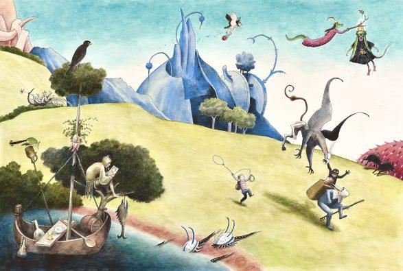 Thé Tjong-Khing, Illustratie uit het kinderboek Bosch. Het vreemde verhaal van Jeroen, zijn pet, zijn rugzak en de bal … (Leopold), 2015, waterverf en inkt op papier.