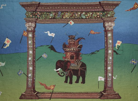 Detail uit het wandtapijt De Strijdolifant (naar Bosch) van Jan Fabre.