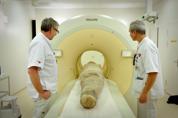 Egyptische krokodillenmummie in CT-scan AMC. Foto: Mike Bink.