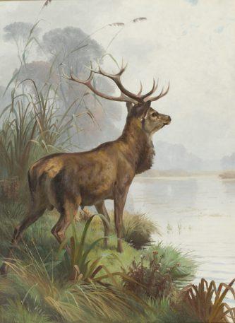 Adolf Mackeprang, Hert bij een meer, Ribe Kunstmuseum.
