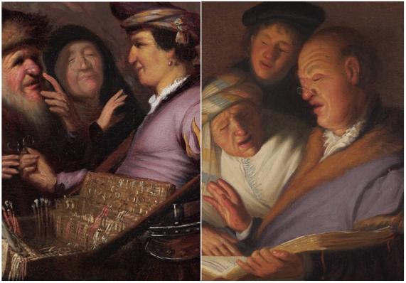 Links: De brillenverkoper (het zicht), ca. 1624, olieverf op paneel, Museum De Lakenhal, Leiden. Rechts: De drie zangers (het gehoor), ca. 1624, olieverf op paneel, The Leiden Collection, New York.