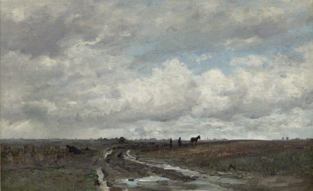 Hendrik Willem Mesdag (1831-1915), Landschap nabij Vries met ploegende boer, 1877, Drents Museum.