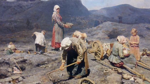 Nikolay Kasaktin, Het verzamelen van steenkool door de armen bij een oude mijnschacht, 1894, Staats Russisch Museum, Sint-Petersburg, te zien in tentoonstelling Peredvizhniki in Drents Museum.