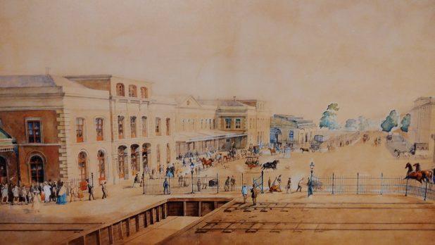Deze reproductie van een aquarel toont het station in 1866.