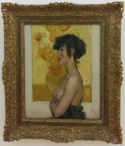 Isaac Israëls, Vrouw en profil voor Zonnebloemen van Van Gogh, 1918, Museum de Fundatie.