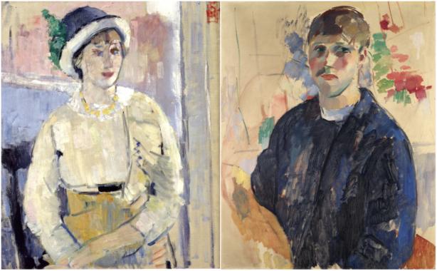 Links: Nel  met de witte blouse, 1911, particuliere collectie. Rechts: Zelfportret met blauwe blouse, 1914, Stedelijke Musea Mechelen.