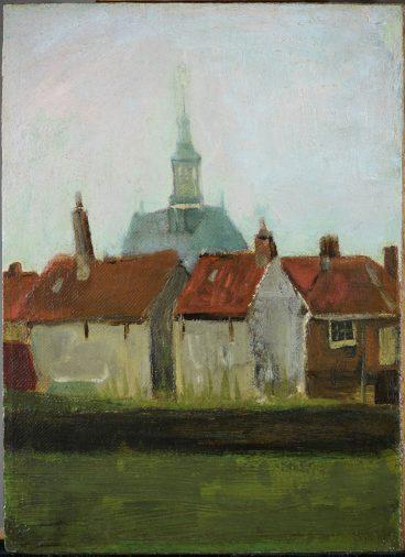 Vincent van Gogh, Gezicht op de Nieuwe Kerk en oude huizen in Den Haag, 1883.